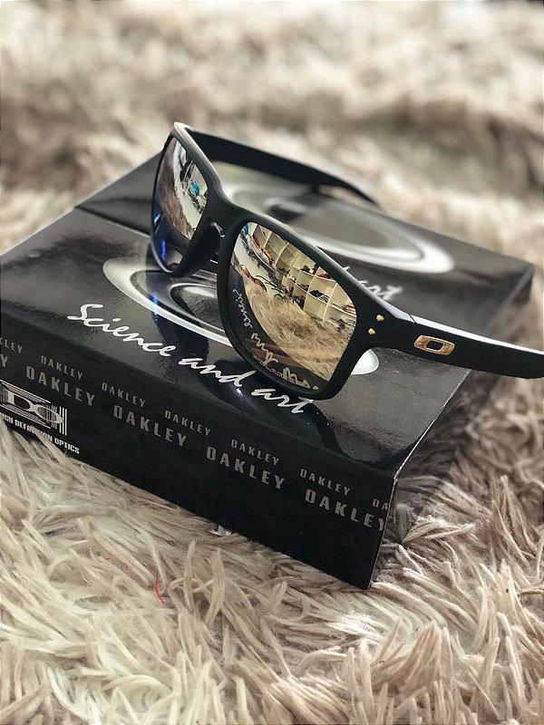Óculos Oakley Holbrook Lente Dourada Armação Preta Frete Grátis