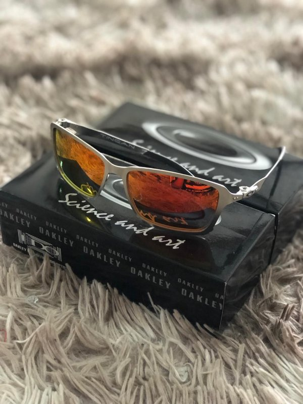 Óculos Oakley Tincan Lente Vermelha Armação Prata Frete Grátis