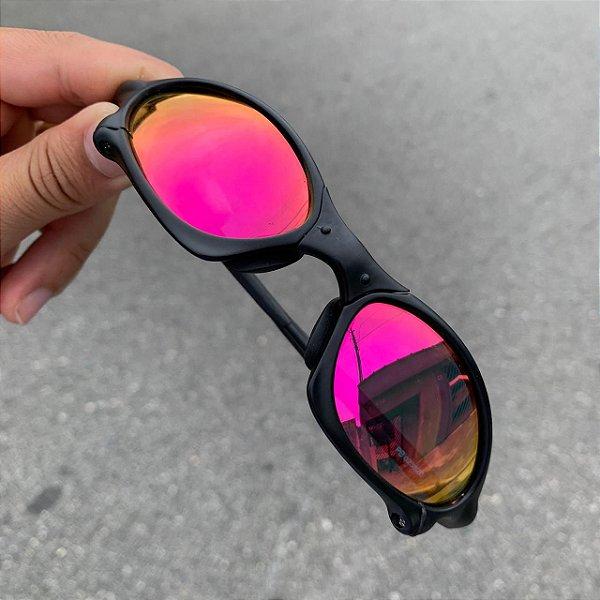 Óculos Oakley Penny Lente Rosa Brilho Reto Armação Preta Frete Grátis