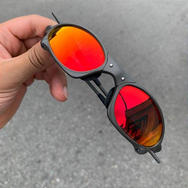 Óculos Oakley Penny Lente Vermelha Brilho Reto Armação X-metal Frete Grátis