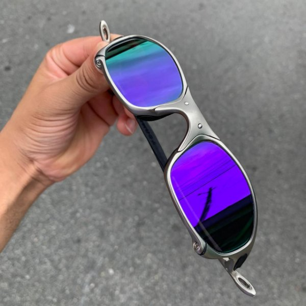 Óculos Oakley Juliet Lente Roxa Brilho Reto Armação Plasma Frete Grátis