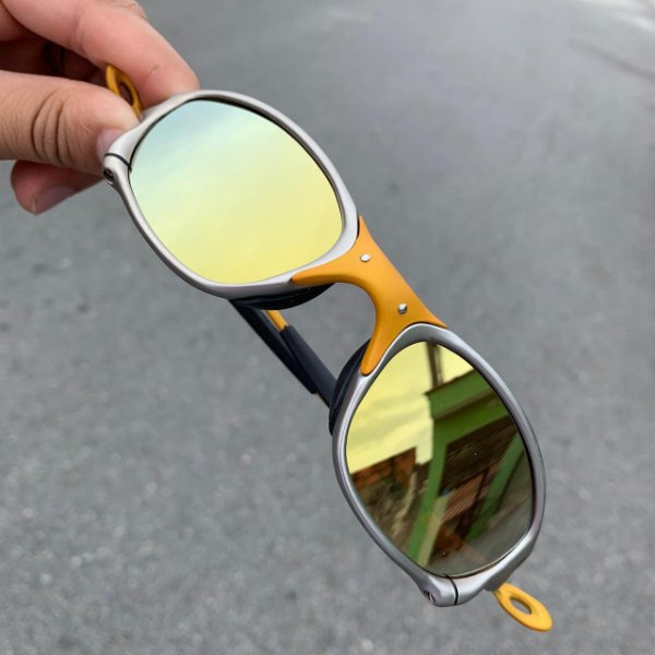 Óculos Oakley Double-X 24k Lente Gold Brilho Reto Frete Grátis
