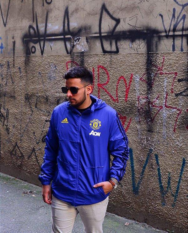 Jaqueta Corta Vento Manchester United Azul Frete Grátis