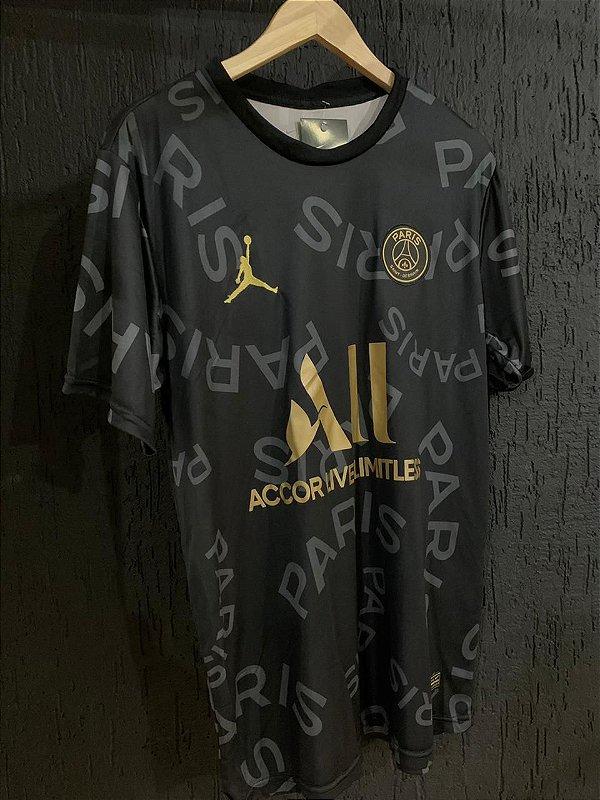 Camiseta Psg Preta Dourada 2021 Com Frete Grátis