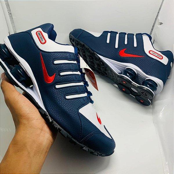 Ténis Nike Shox Nz Azul Com Branco Detalhe Vermelho Com Frete Grátis