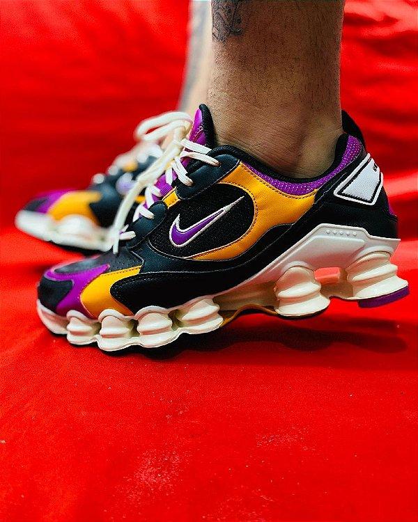 Ténis Nike Shox TL 12 Molas Preto Com Roxo e Laranja Frete Grátis