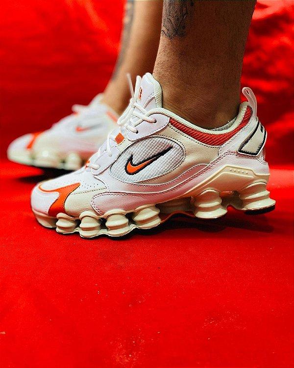 Ténis Nike Shox TL 12 Molas Branco Com Laranja Frete Grátis