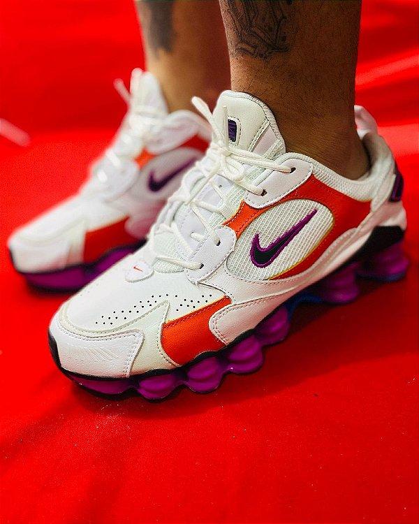 Ténis Nike Shox TL 12 Molas Branco Com Vermelho e Roxo Frete Grátis