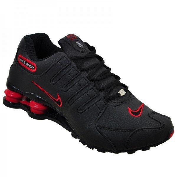 Ténis Nike Shox Nz Preto Com Detalhe Vermelho Com Frete Grátis