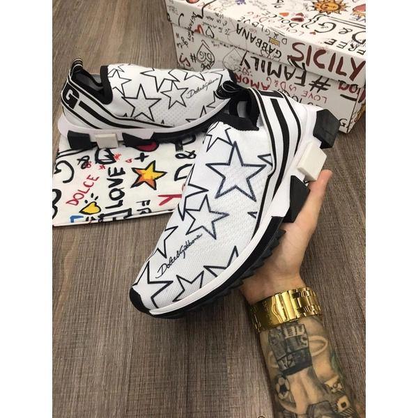 Tênis Masculino Dolce&Gabbana Branco Com Estrelas Com Frete Gratis