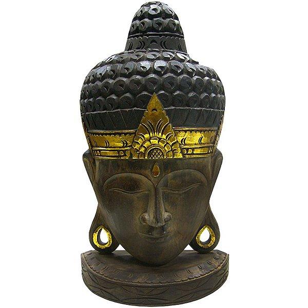 Cabeça Buda Ouro Pedestal 50cm