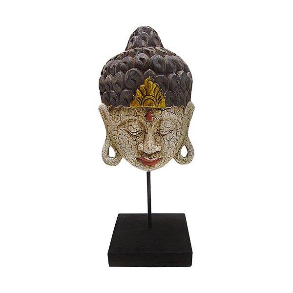 Máscara Buda Envelhecida 15cm Pedestal