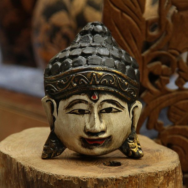 Máscara Buda Ouro 15cm
