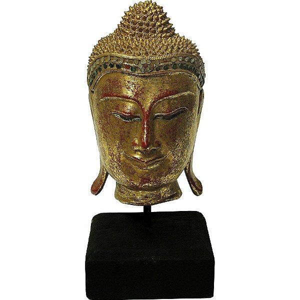 Cabeça Buda Pedestal 30cm Vermelho