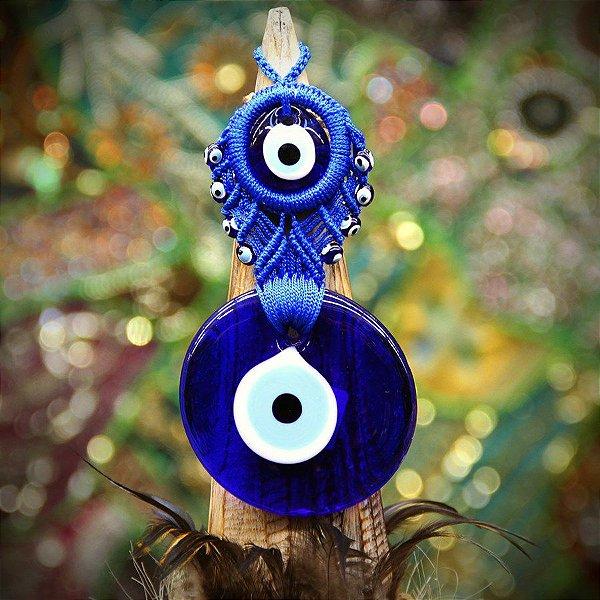 Olho Turco Macrame 2 Olhos 8cm Natural