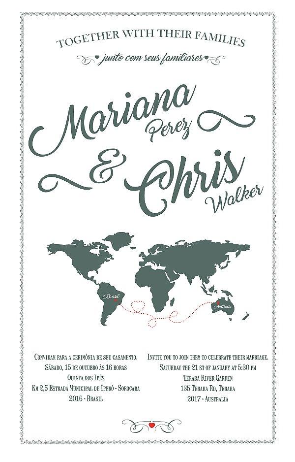 Pano de prato personalizado - Convite de casamento da Marina