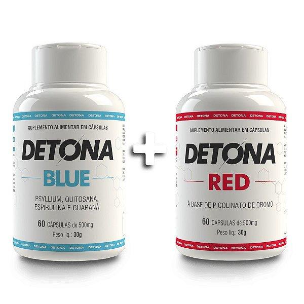 Kit Detona Gordura Blue e Red Suplemento Alimentar Com 60 Cápsulas