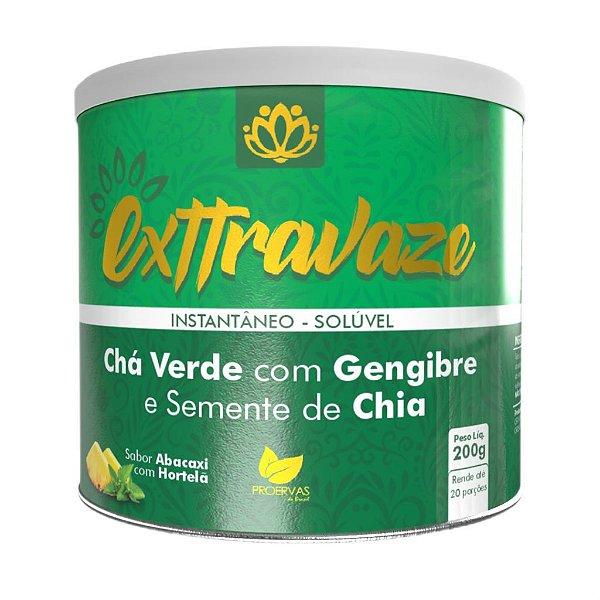 Proervas Exttravaze Chá Verde Com Gengibre e Semente de Chia 200g Sabor Abacaxi Com Hortelã