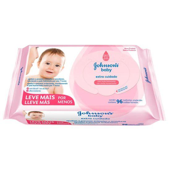Lenços Umedecidos Johnsons Baby Extra Cuidado Com 96 Unidades