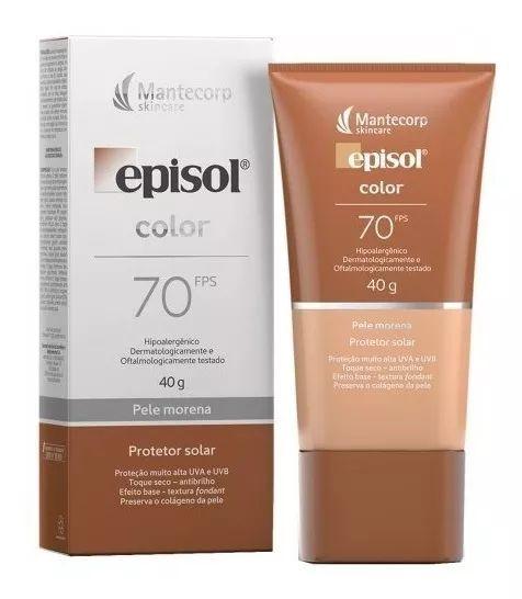 Protetor Solar Episol Color Pele Morena Fps 70 40g Mantecorp