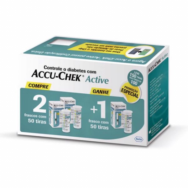 Kit Accu-Chek Active 3 Caxias com 50 Tiras Cada