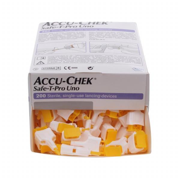 Accu-Chek Safe-T-Pro Uno 200 Lancetas Validade 12/2021
