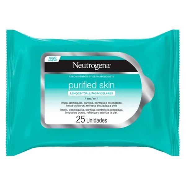 Lenço Micelar Neutrogena - Purified Skin 7 em 1 - 25 Unidades