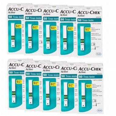 Super Kit Accu-Chek Active com 50 Tiras Reagentes 10 Unidades Validade 06/2021