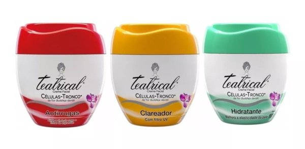 Kit Teatrical Creme Facial Antirrugas + Clareador + Hidratante