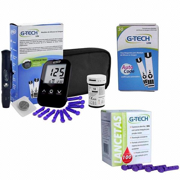 Kit Completo Medidor G-Tech Lite com 60 Tiras + 110 Lancetas