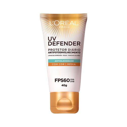 Protetor Solar Loréal Paris UV Defender Antioleosidade 40g com Cor Média Fps 60