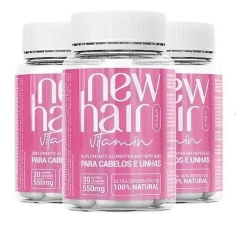 New Hair Caps Women Para Cabelos e Unhas Com 30 Cápsulas 2 Unidades