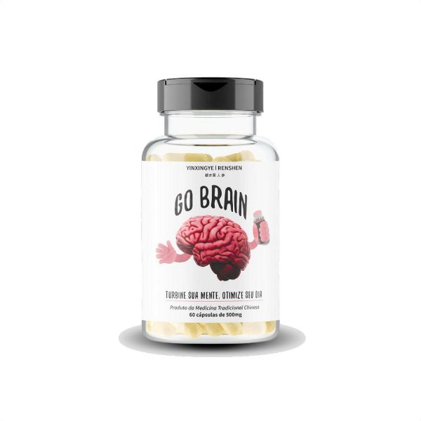 Suplemento Alimentar Go Brain Com 60 Cápsulas Pote Branco 30g