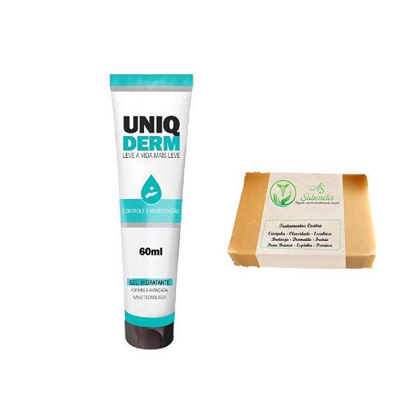 Uniqderm Hidratante Para Psoríase 60ml + As Sabonete Medicinal Contra Escabiose 12g