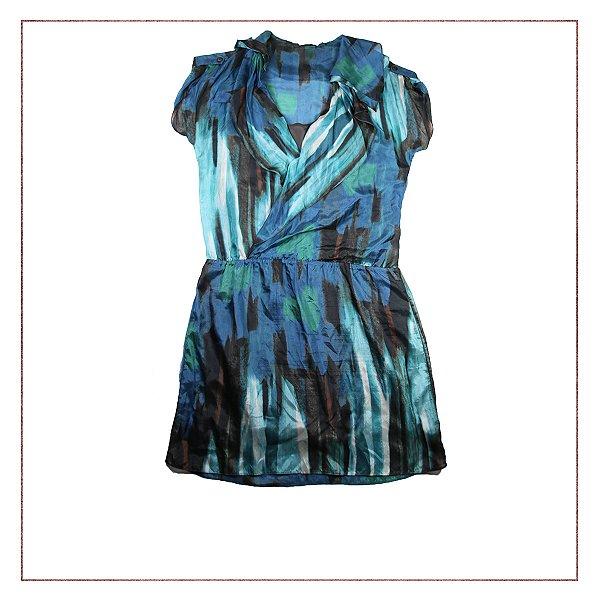 Vestido Azul Cetim
