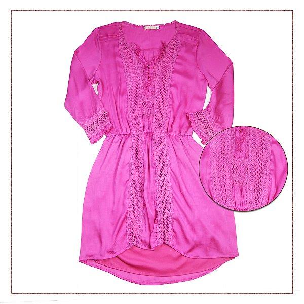 Vestido Rosa Rendado Lulu Collection