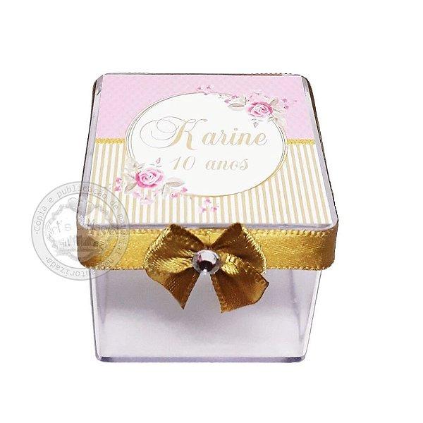 Caixinha Personalizada Rosa e Dourado - 10 unidades