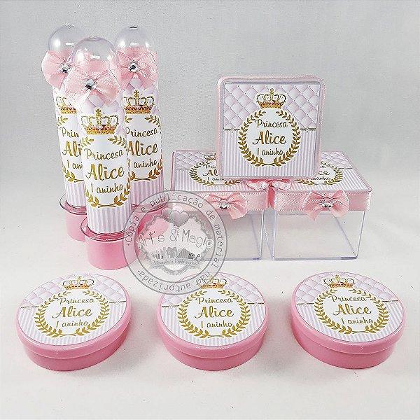 Kit Festa Personalizado Coroa Realeza Rosa