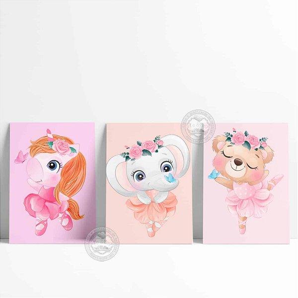 3 Placas Decorativas Bailarina Cute Bichinhos