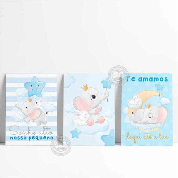 3 Placas Decorativas Elefantinho e Coelhinho Baby