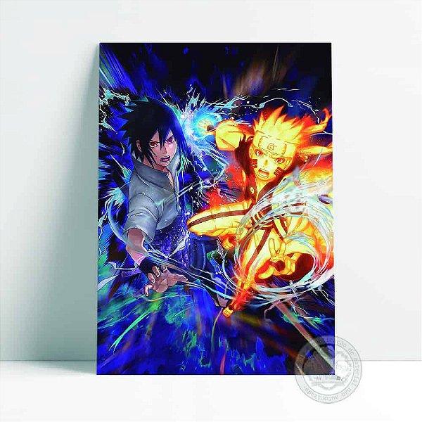 Placa Decorativa Naruto e Sasuke