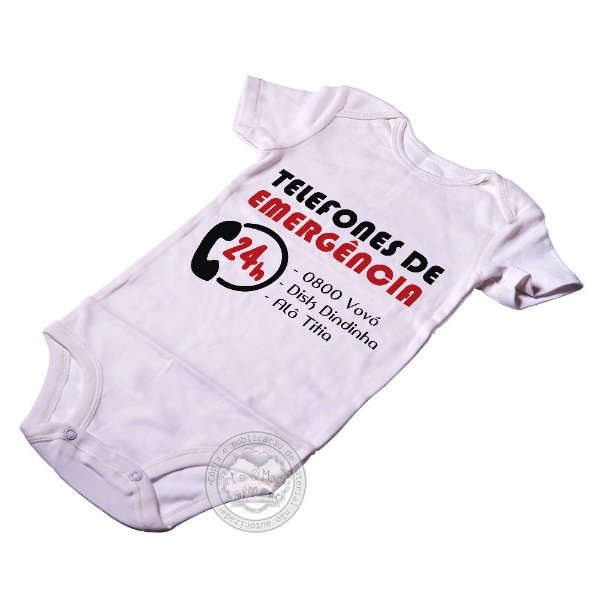 Body para bebê infantil Emergência