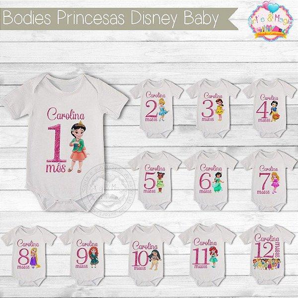 Kit body Mesversario personalizado Princesas Disney