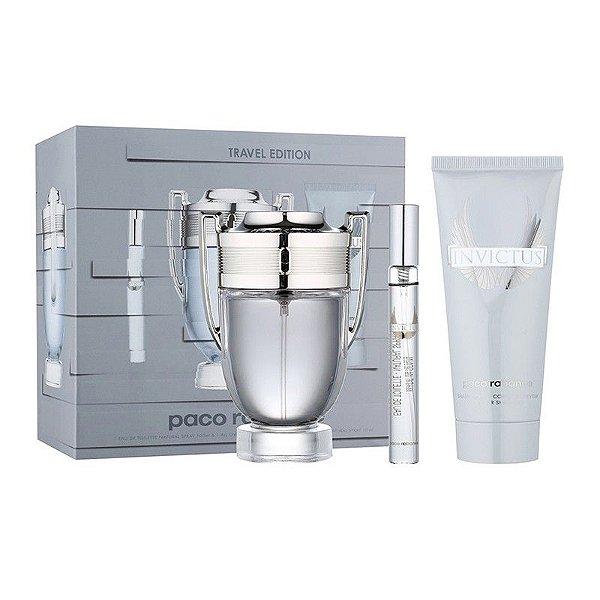 Kit Perfume Invictus Edt 100ml + Shampoo 100ml + Miniatura Edt 100ml masculino