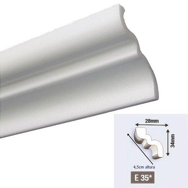 """Moldura RodaTeto de isopor modelo E35 """"Liso de fabrica"""" 45mm de face"""