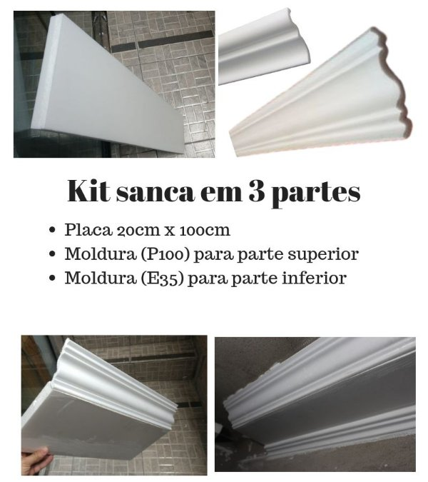 Sanca isopor modelo K1- XPS (lisa de fabrica) kit para montar 3 partes