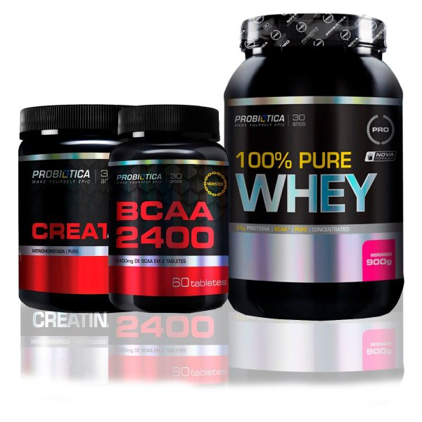 Kit 100% Whey 900g + Bcaa 120caps + Creatina 100g