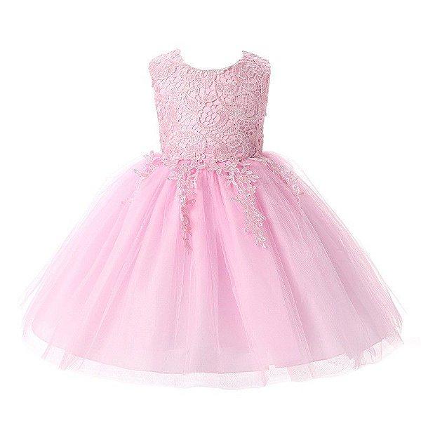 b38a3f4ed Vestido Criança Rosa Guipir Perfeito barato - Vestido Infantil Dama ...