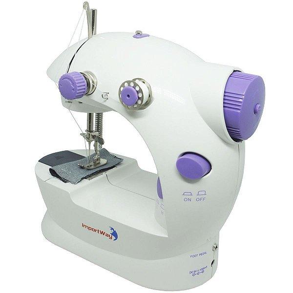 Mini Máquina de Costura Fonte Bivolt e Pilha IPX0 Classe III 50/60Hz ImportWay
