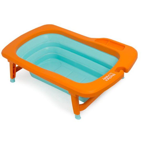 Banheira Dobrável Mathos Loreley Laranja e Azul Turquesa